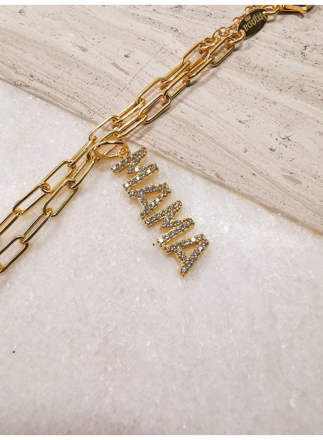 "Diamond ""MAMA"" Charm Yellow Gold Clear"