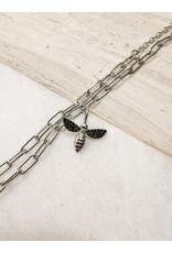 Bee Charm Rhodium Black