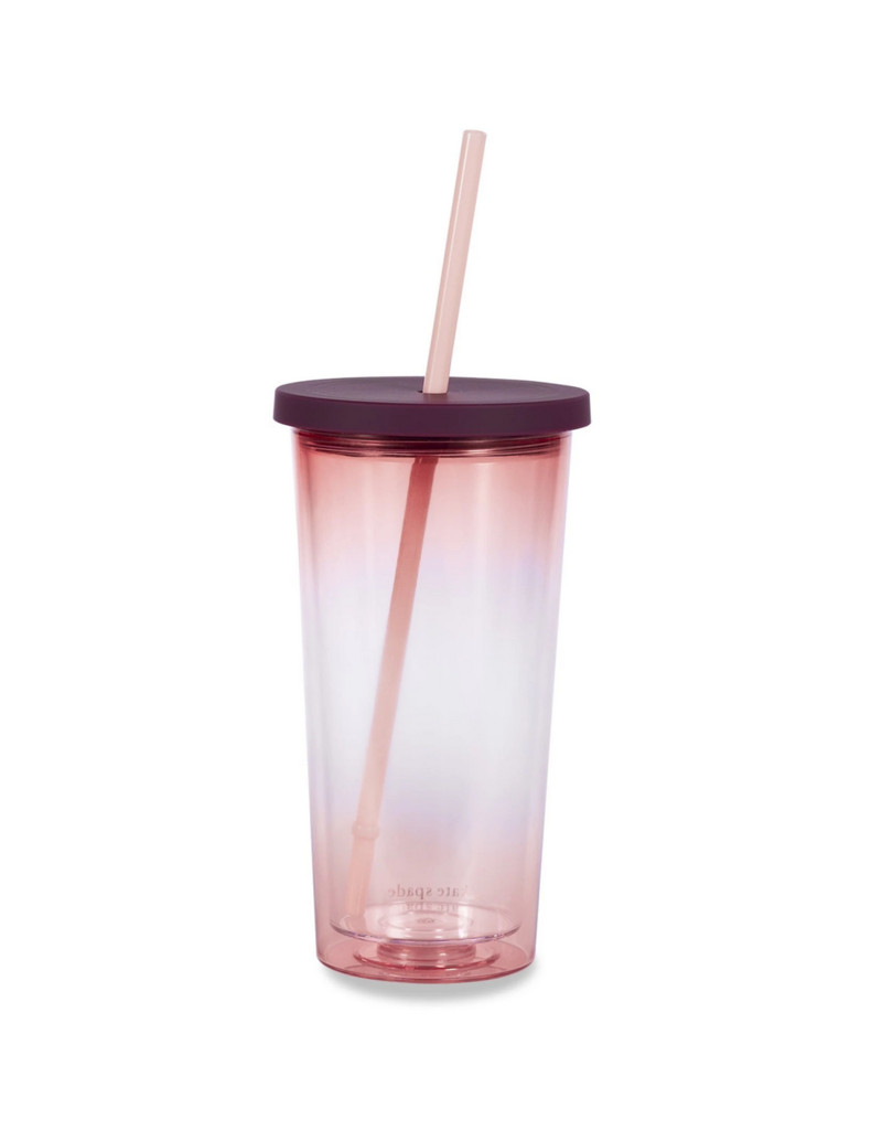 Tumbler w/Straw Pink Ombre