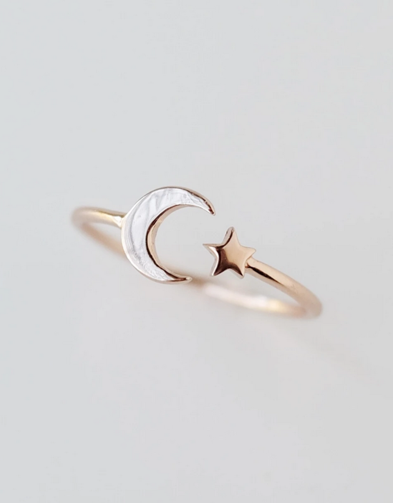 Rose Gold Moon + Star Ring