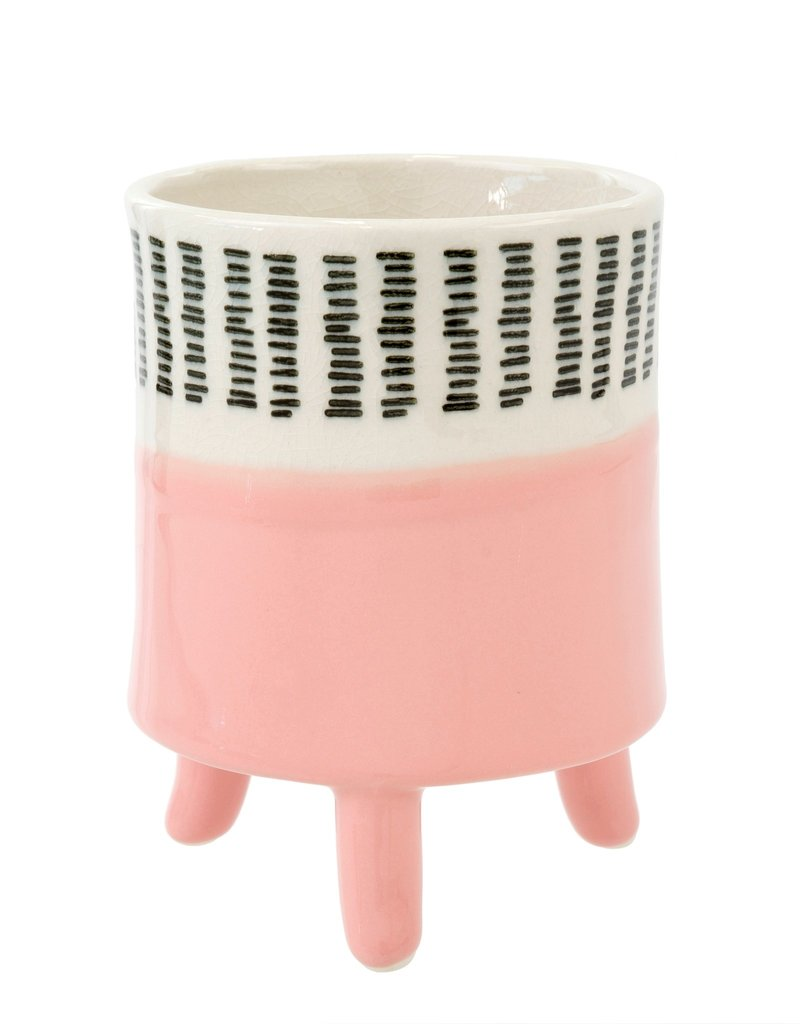 Pink Painterly Footed Pot