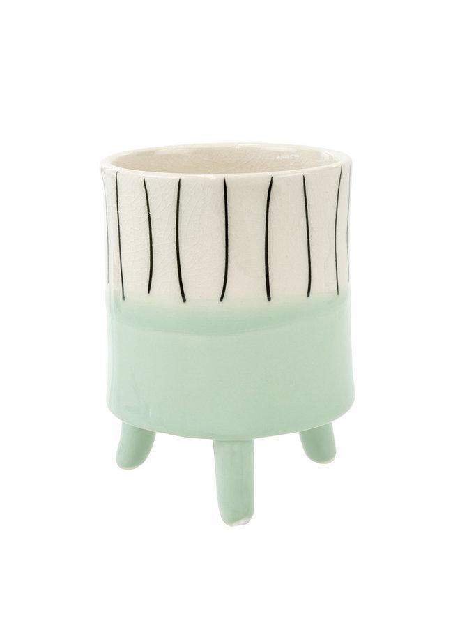 Aqua Painterly Footed Pot