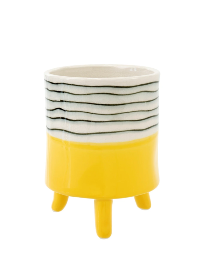 Yellow Painterly Footed Pot