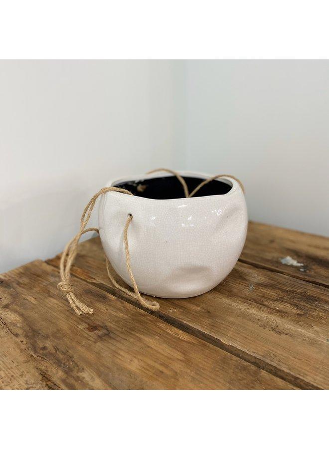 "5"" Hanging Ivory Ceramic Planter"