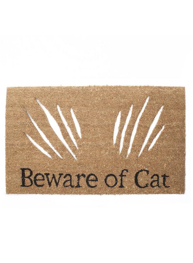 """""""Beware Of Cat"""" Doormat"""