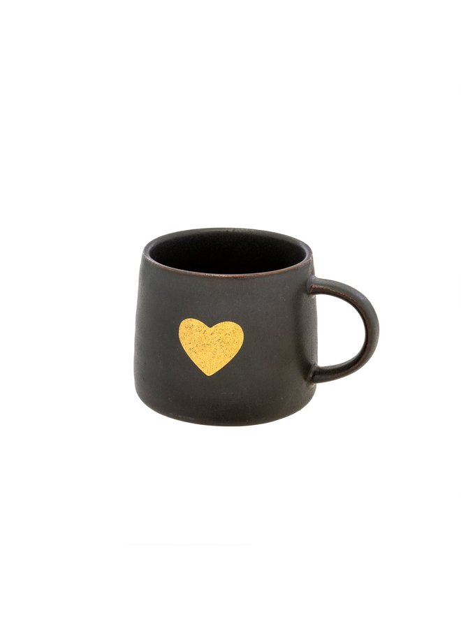Black Gold Heart Mug