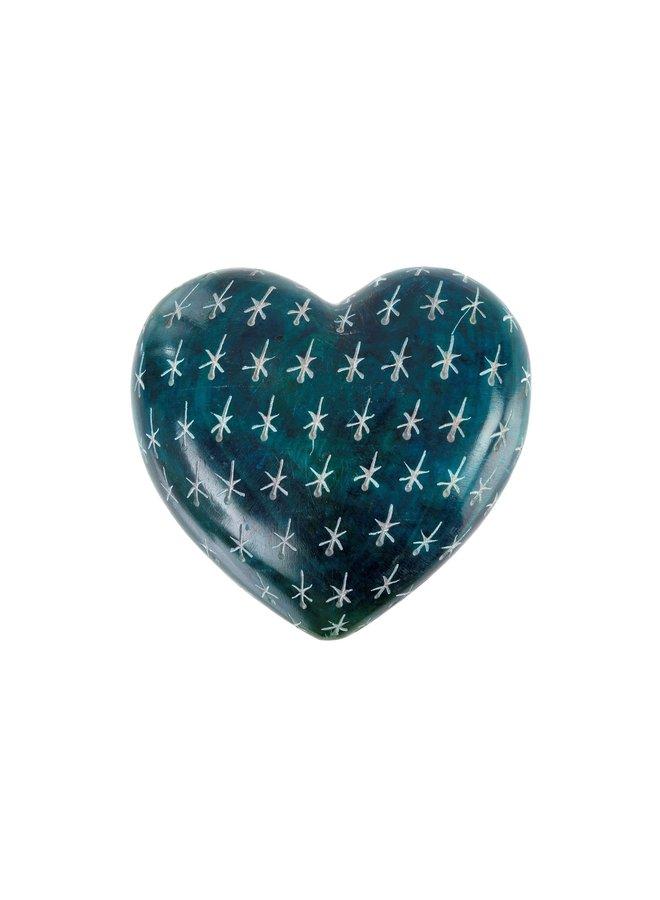 Small Blue Lagoon Soapstone Heart
