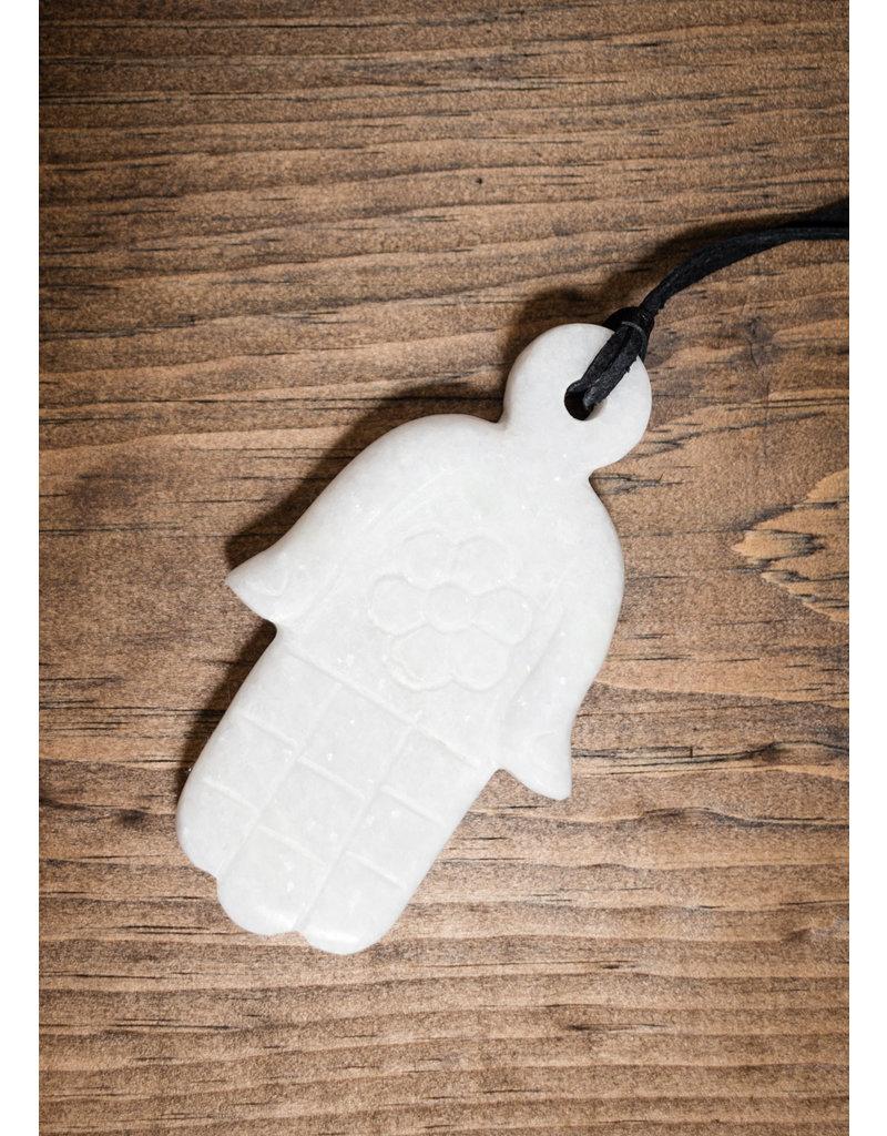 White Marble Hamsa Ornament