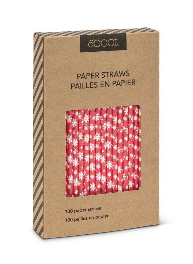 Snowflake Print Straws