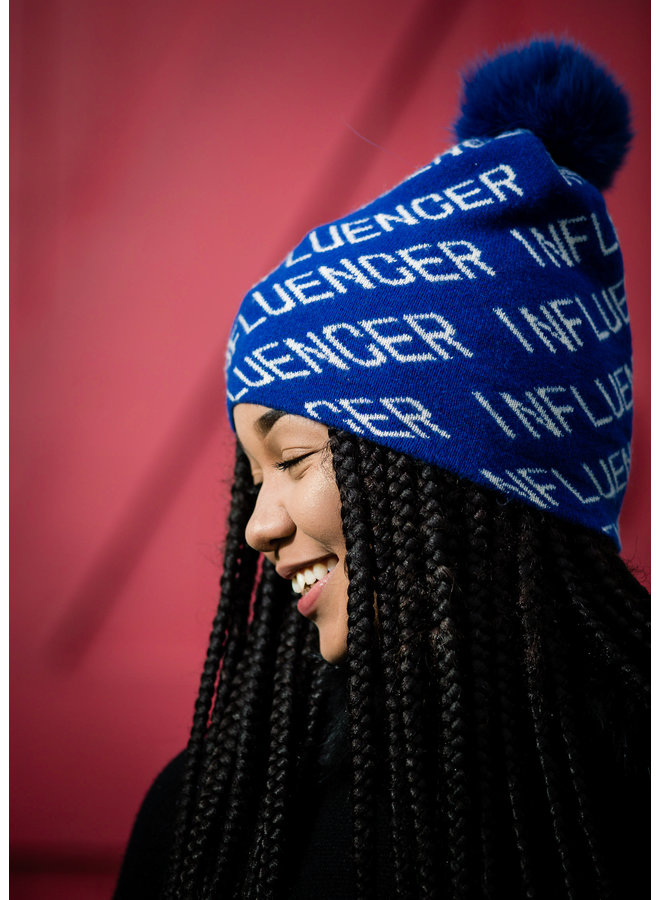 Electric Blue Knit Influencer Beanie w/Fox Pom