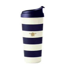 Thermal Mug Gold Bee Navy Stripe