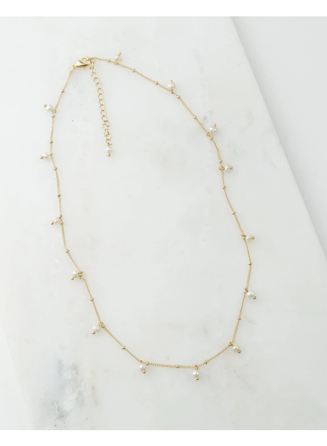 Dot Pearl Necklace White