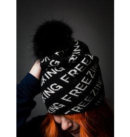 F*cking Freezing Knit Beanie w/Fox Pom