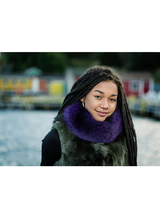 Eggplant Fox Fur Collar