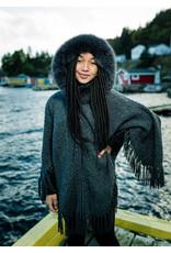 Wool Knit Poncho w/Fringe & Fox Hood
