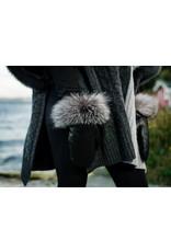 Leather Mittens w/Raccoon Trim