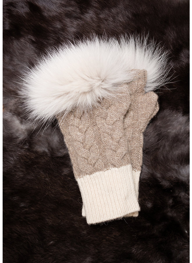 Cable-Knit Fingerless Gloves w/Fox Trim