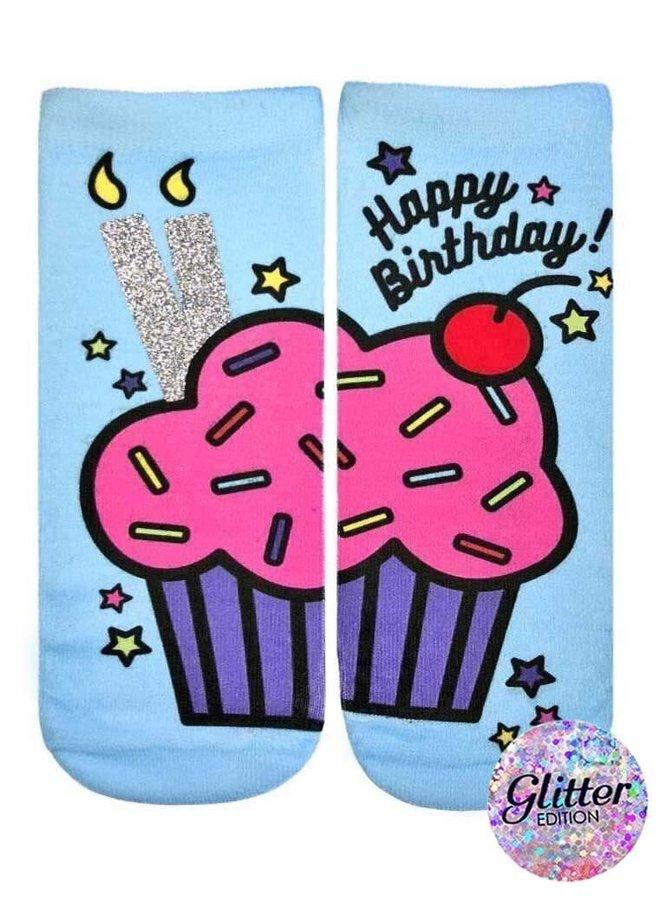 Ankle Socks  Glitter Birthday Cupcake