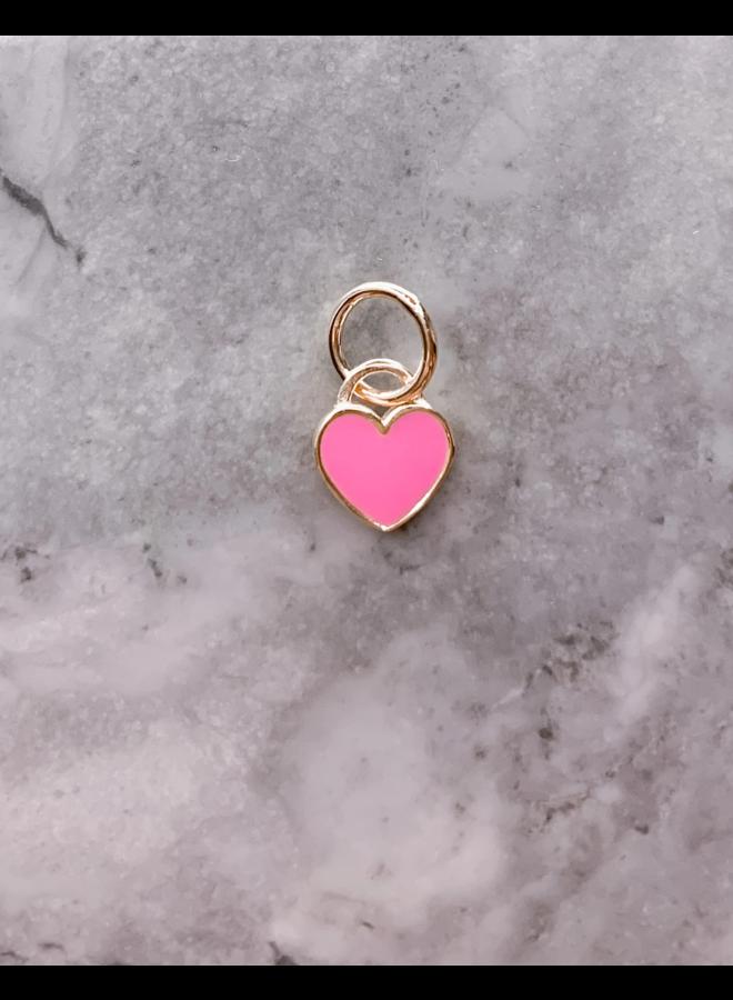 Pink Enamel Heart Charm