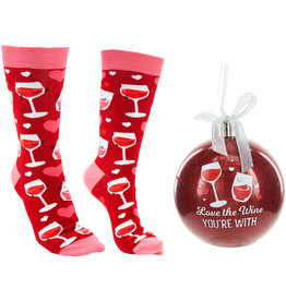 """The Wine You're With - 4"""" Ornament with Socks"""