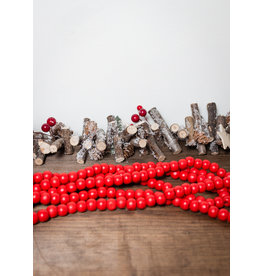 8.5'  Red Wooden Bead Garland