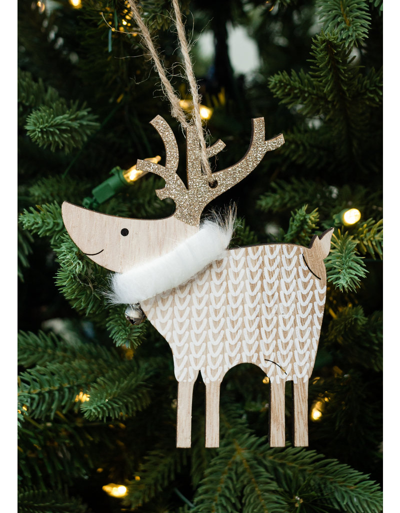 Gold Sweater Deer Ornament