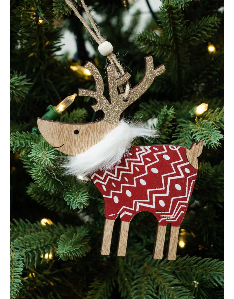 Red Red Sweater Deer Ornament