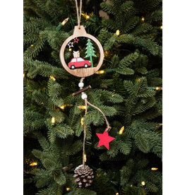 Tree with Car, Pinecone & Star Ornament