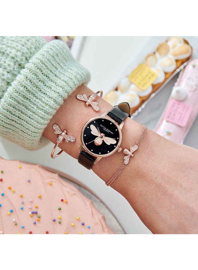 Rainbow Lucky Bee Midi Dial Vegan Black & Rose Gold Watch