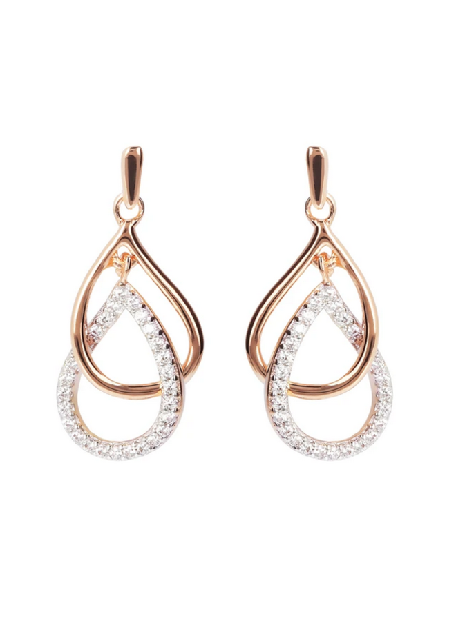 CZ Rose Gold Plated Drop Earrings