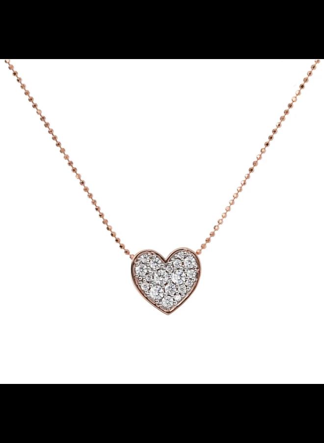 CZ Rose Gold Pavé Heart Necklace