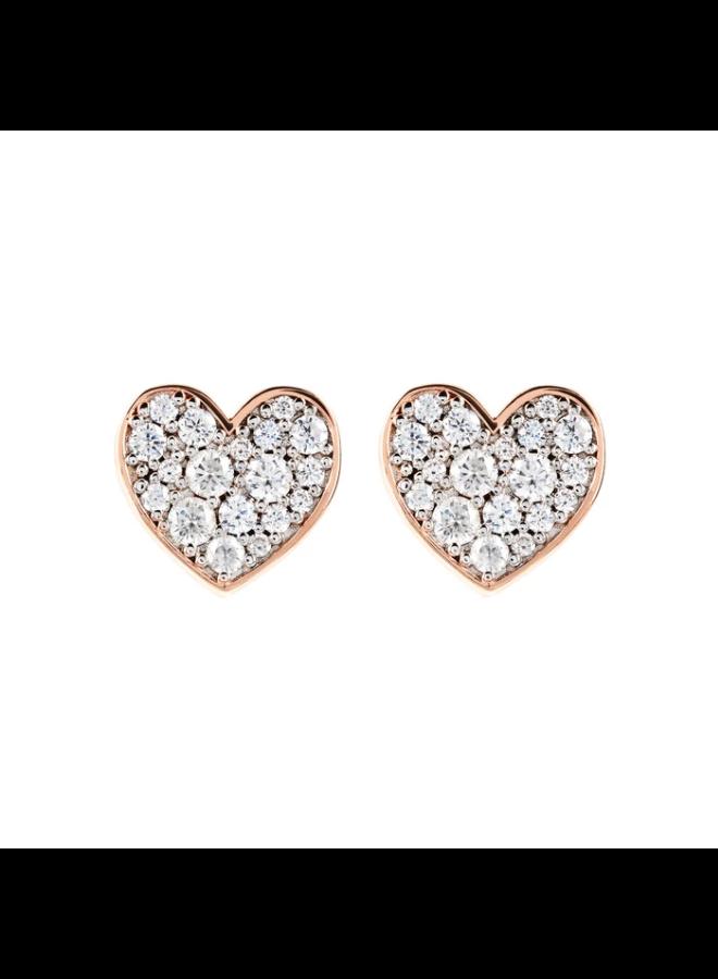 CZ Rose Gold Pavé Heart Earrings