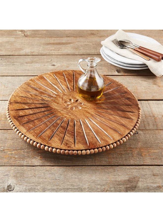 Beaded Wood Carved Lazy Susan