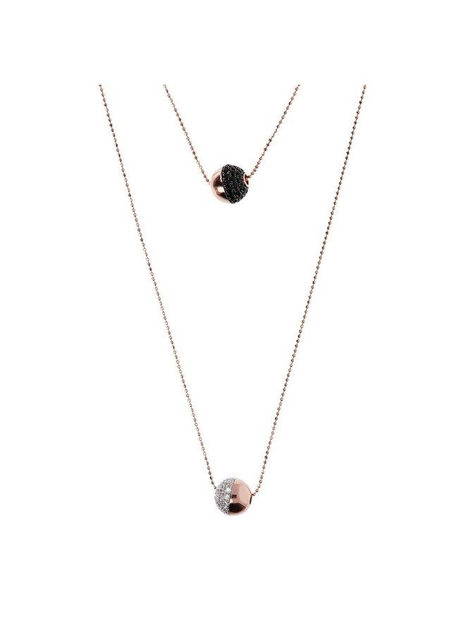 CZ & Black Spinel Double Strand Necklace
