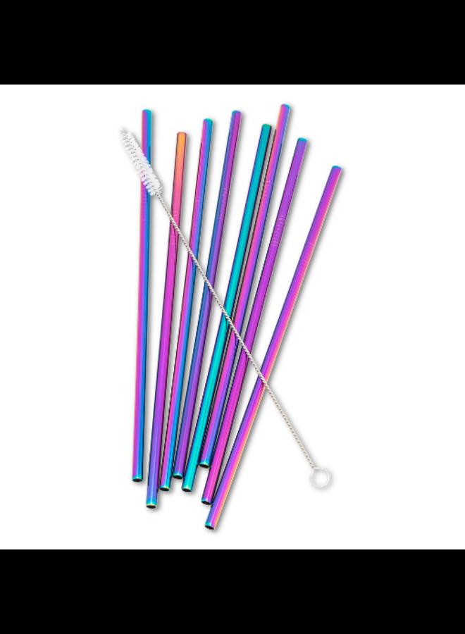 8 Straight Rainbow Straws & Brush