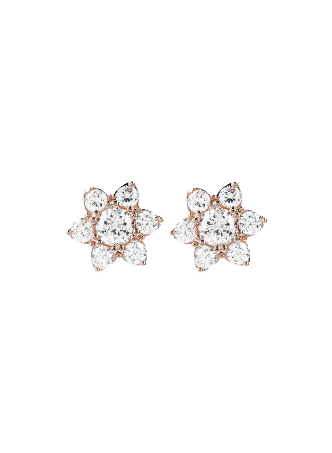 CZ Gemstone Flower Earrings