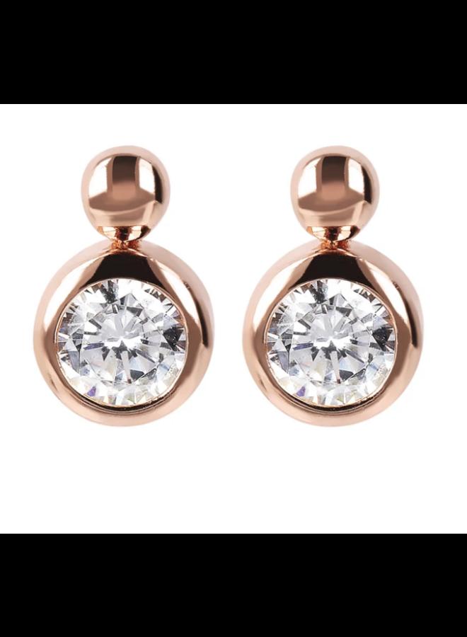CZ & Rose Gold Earrings
