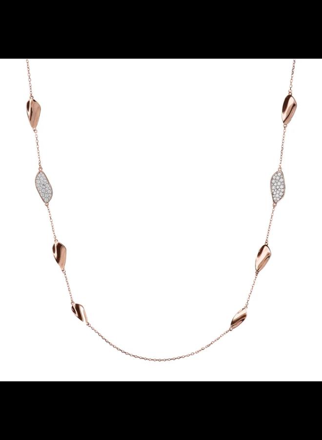 CZ Rose Gold Leaf Necklace