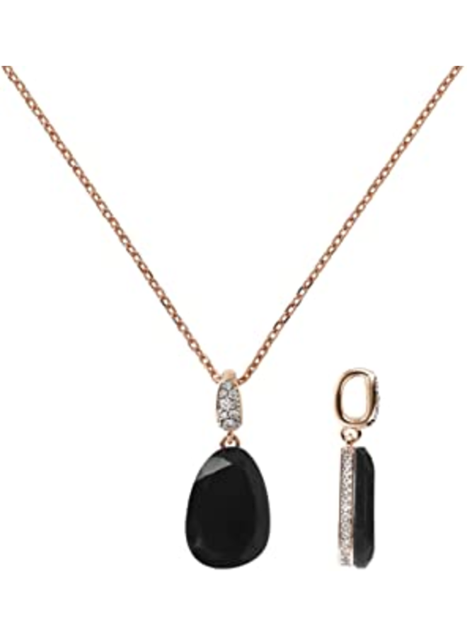 Collier Necklace w/Drop Stone & CZ Pavé Pendant