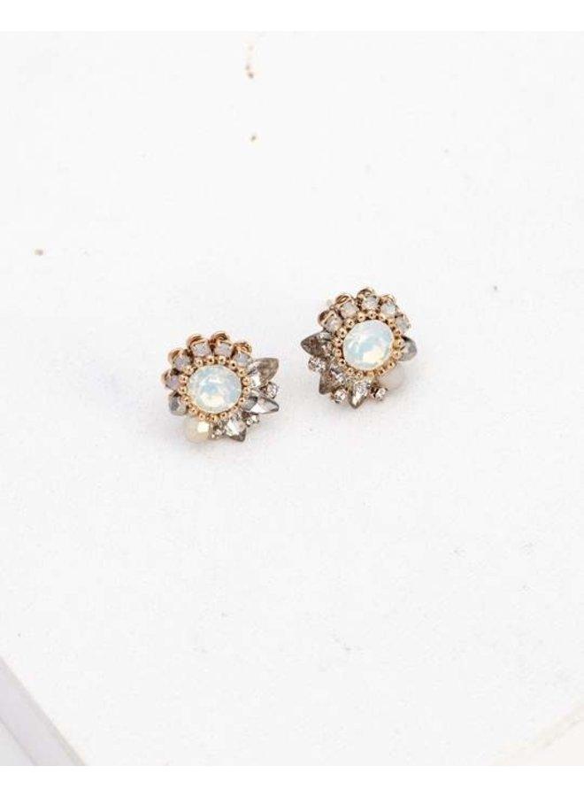 Amelia Crystal Post Earrings  White Opal