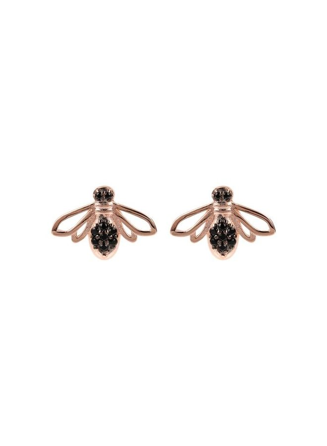 Black Spinel Bee Earrings