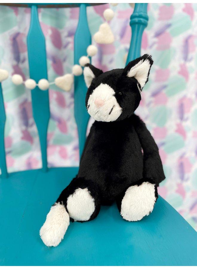 Bashful Medium Black & White Cat
