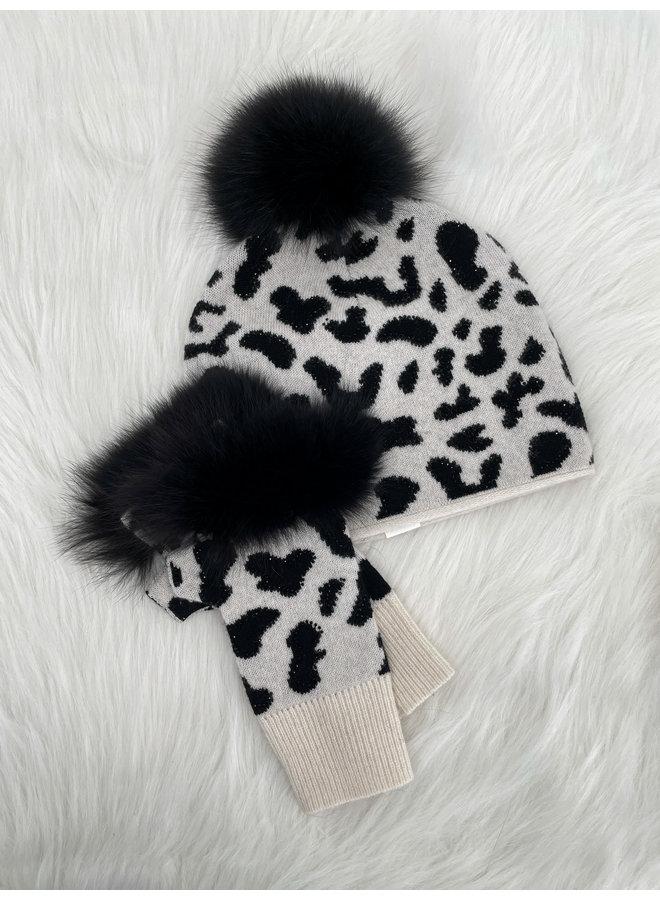 Animal Print Fingerless Gloves with Fox