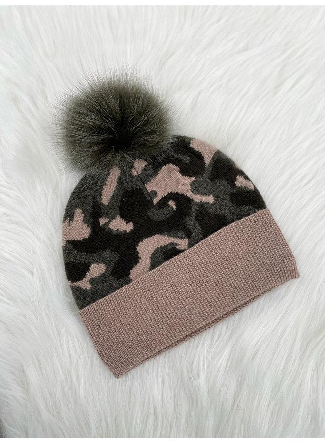 Camo Hat w/Fox Pom
