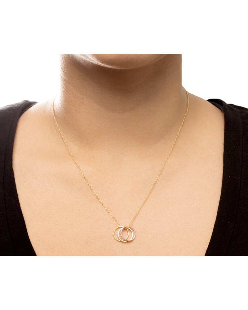 """DOGEARED DOGEARED / Triple Karma Ring Necklace 18"""" (Mixed, o/s)"""