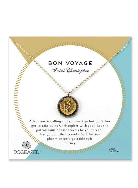 DOGEARED DOGEARED / Bon Voyage Saint Necklace (2-tone, o/s)