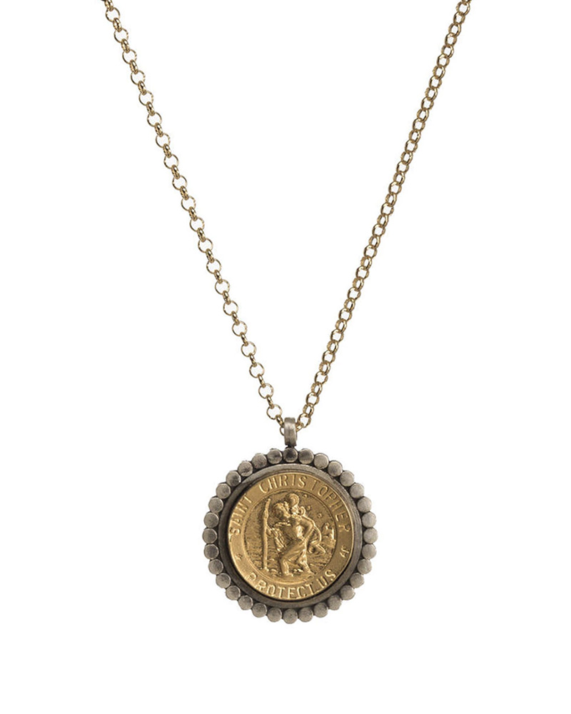 DOGEARED DOGEARED / Bon Voyage Saint Necklace (2-tone, o/s)