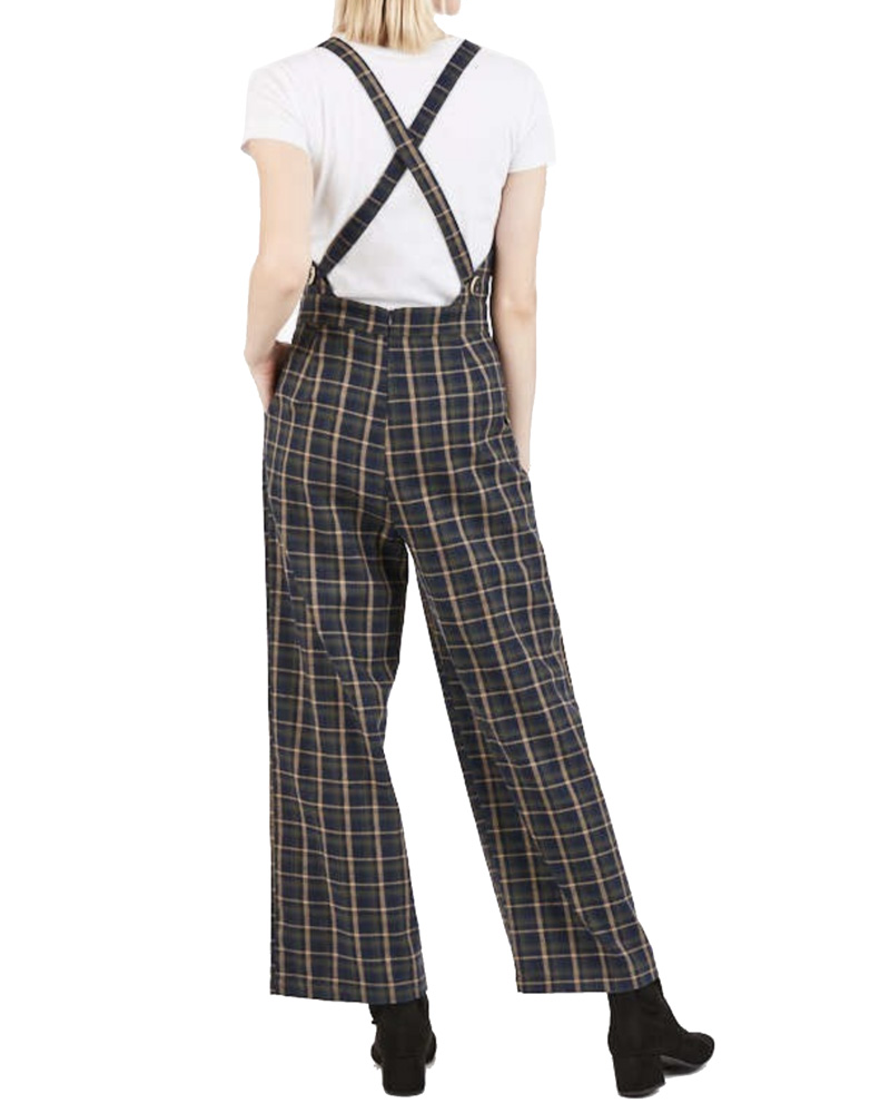 Navy Plaid Overall