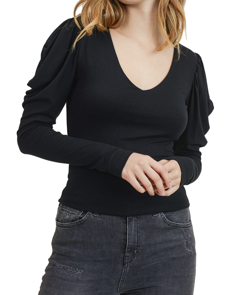 Puff Layered V Neck Top