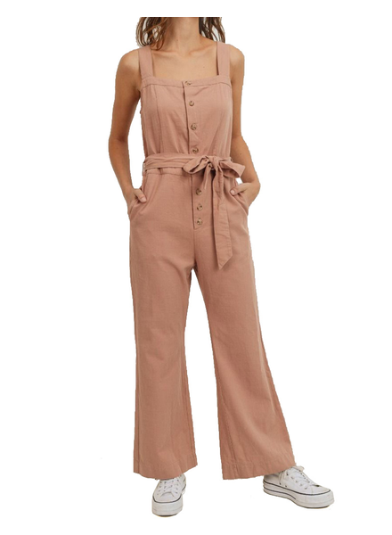 Button Down Shoulder Strap Waist BandSleeveless Jumpsuit